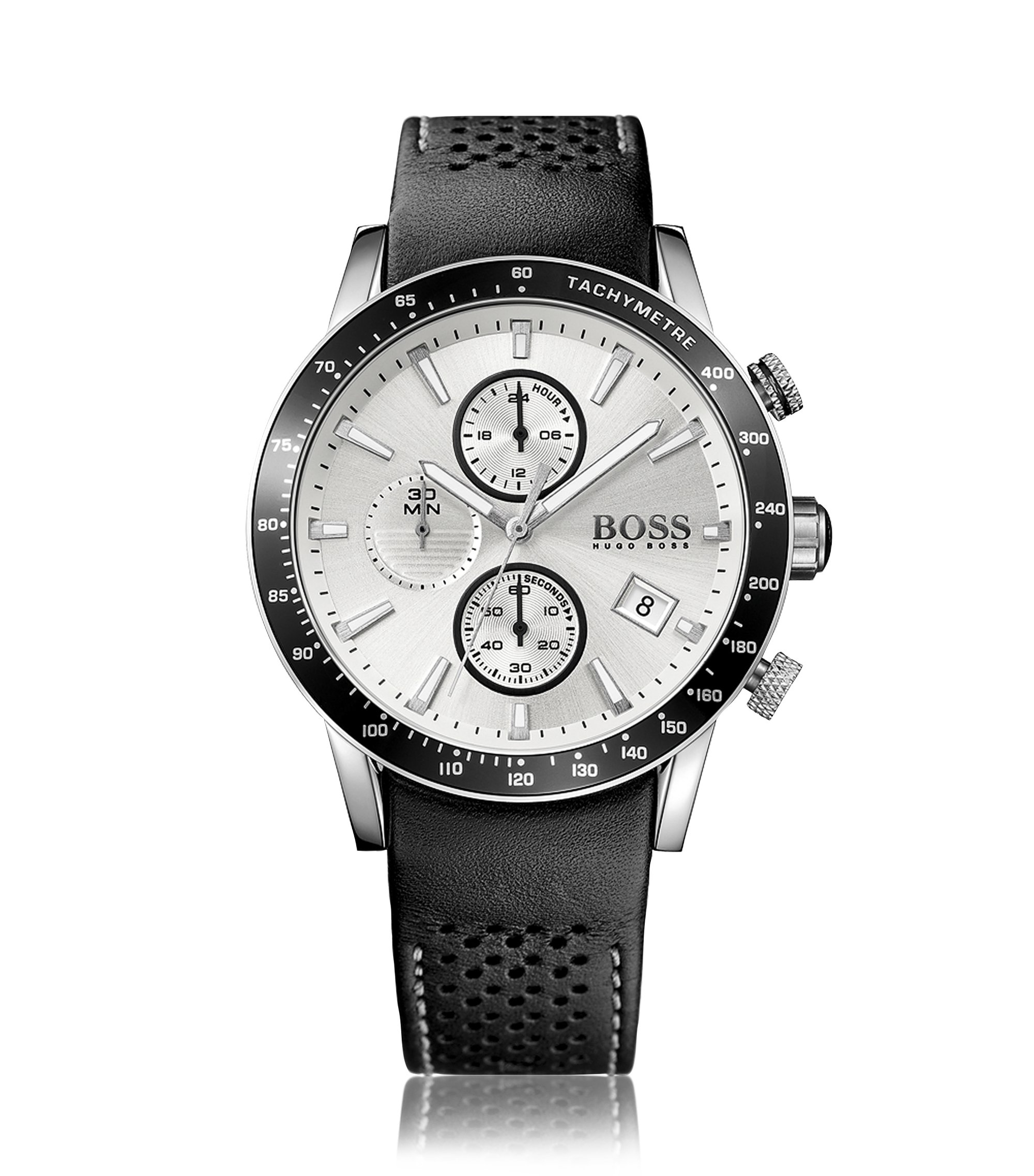 Grey-plated stainless-steel sportswatch with silver dial and perforated leather strap, Assorted-Pre-Pack