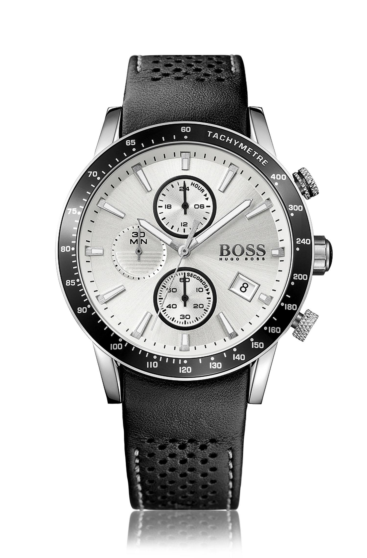 Grey-plated stainless-steel sportswatch with silver dial and perforated leather strap