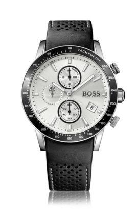 Sportive Uhr aus Edelstahl mit perforiertem Lederarmband, Assorted-Pre-Pack