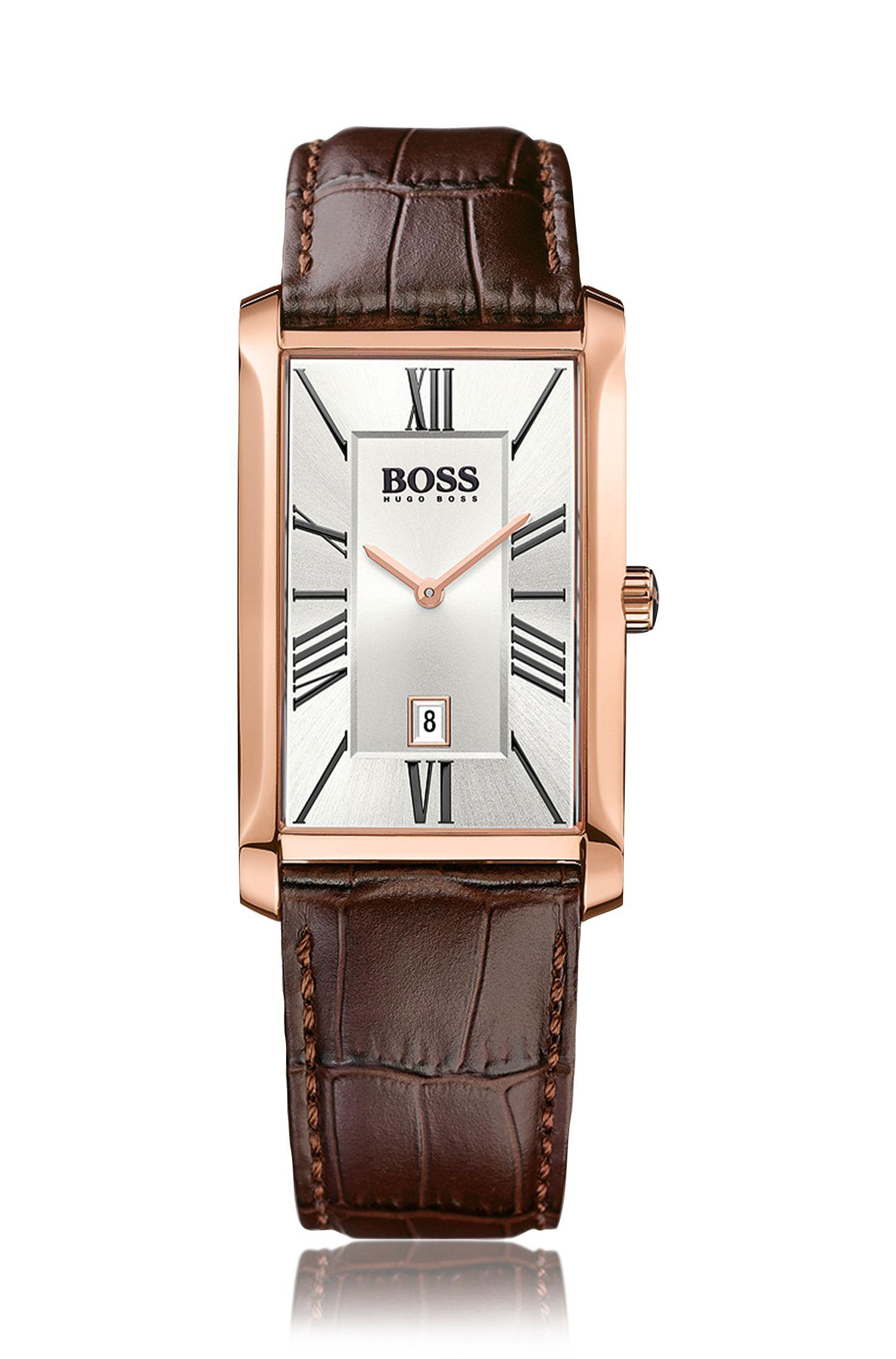 Horloge met twee wijzers, leren band met structuur en datumweergave: 'Admiral'
