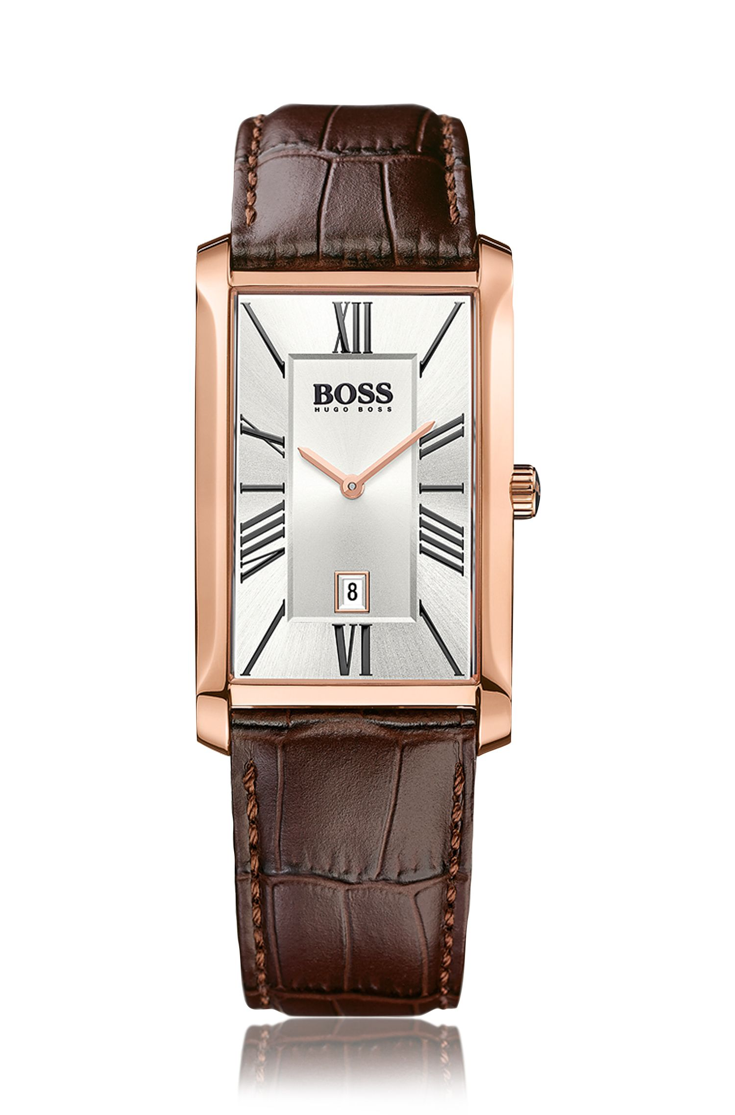 2-hand watch with embossed leather strap and date display: 'Admiral'