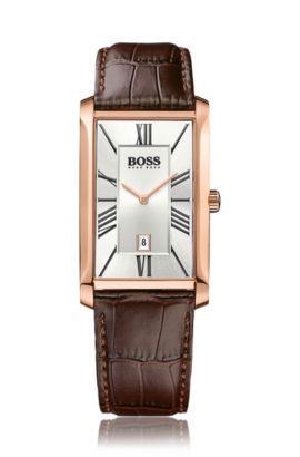 Horloge met twee wijzers, leren band met structuur en datumweergave: 'Admiral', Bruin