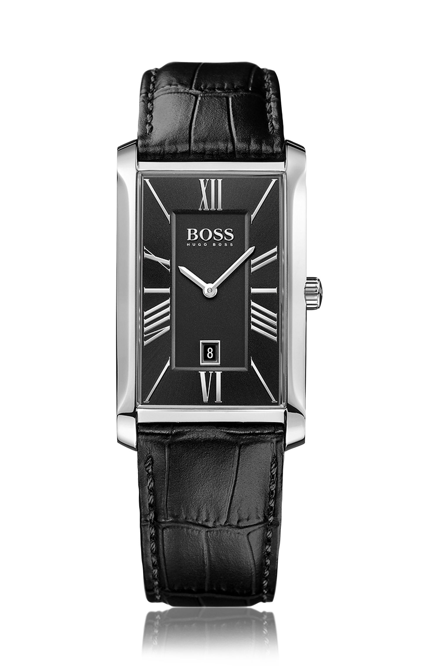 Montre à deux aiguilles avec bracelet en cuir imprimé et affichage de la date: «Admiral»