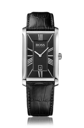 Horloge met twee wijzers, leren band met structuur en datumweergave: 'Admiral', Zwart
