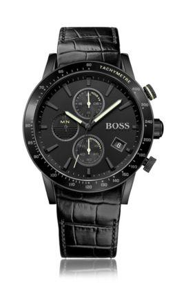 Chronographe doté d'un mouvement à quartz et d'un bracelet en cuir gravé: «Rafale», Noir