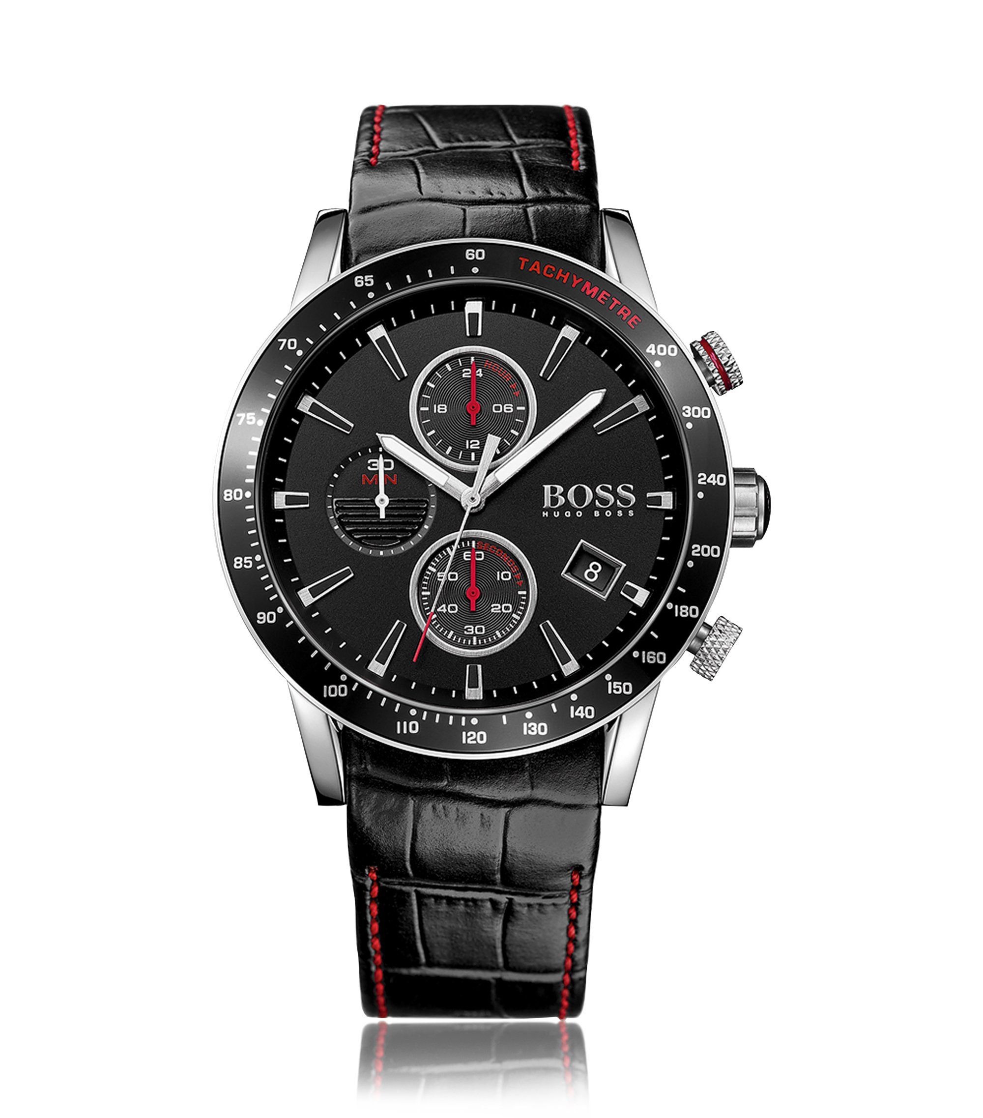 Black stainless-steel chronograph watch with black dial and leather strap, Black