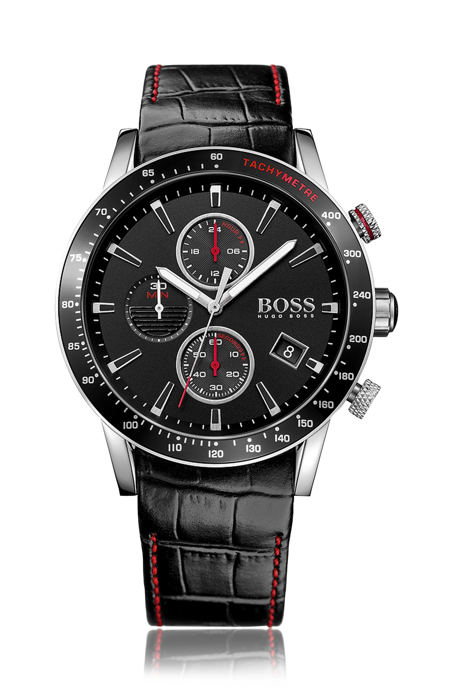 Black stainless-steel chronograph watch with black dial and leather strap