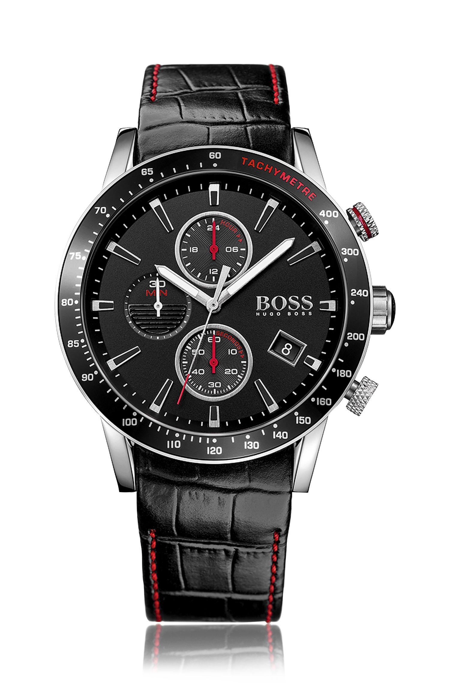 Montre chronographe en acier inoxydable noir avec un cadran noir et un bracelet en cuir