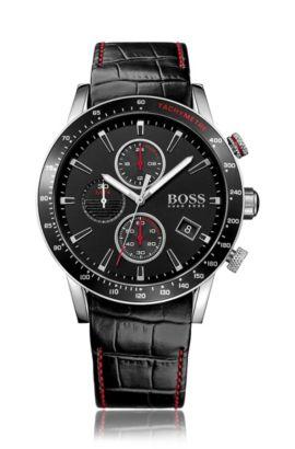 Montre chronographe en acier inoxydable noir avec un cadran noir et un bracelet en cuir, Assorted-Pre-Pack