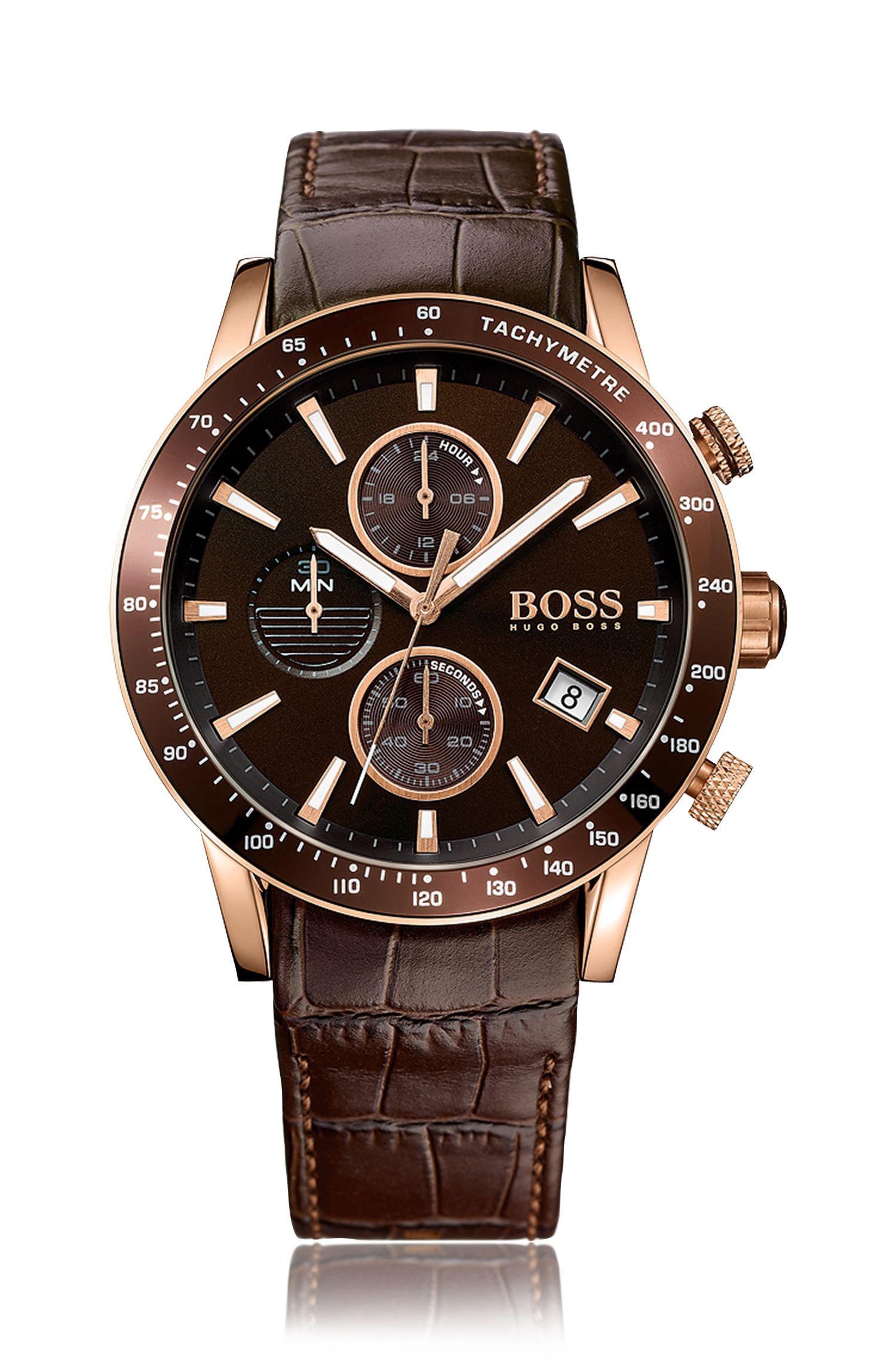 Chronographe doté d'un boîtier en acier inoxydable partiellement doré et d'un bracelet en cuir: «Rafale»