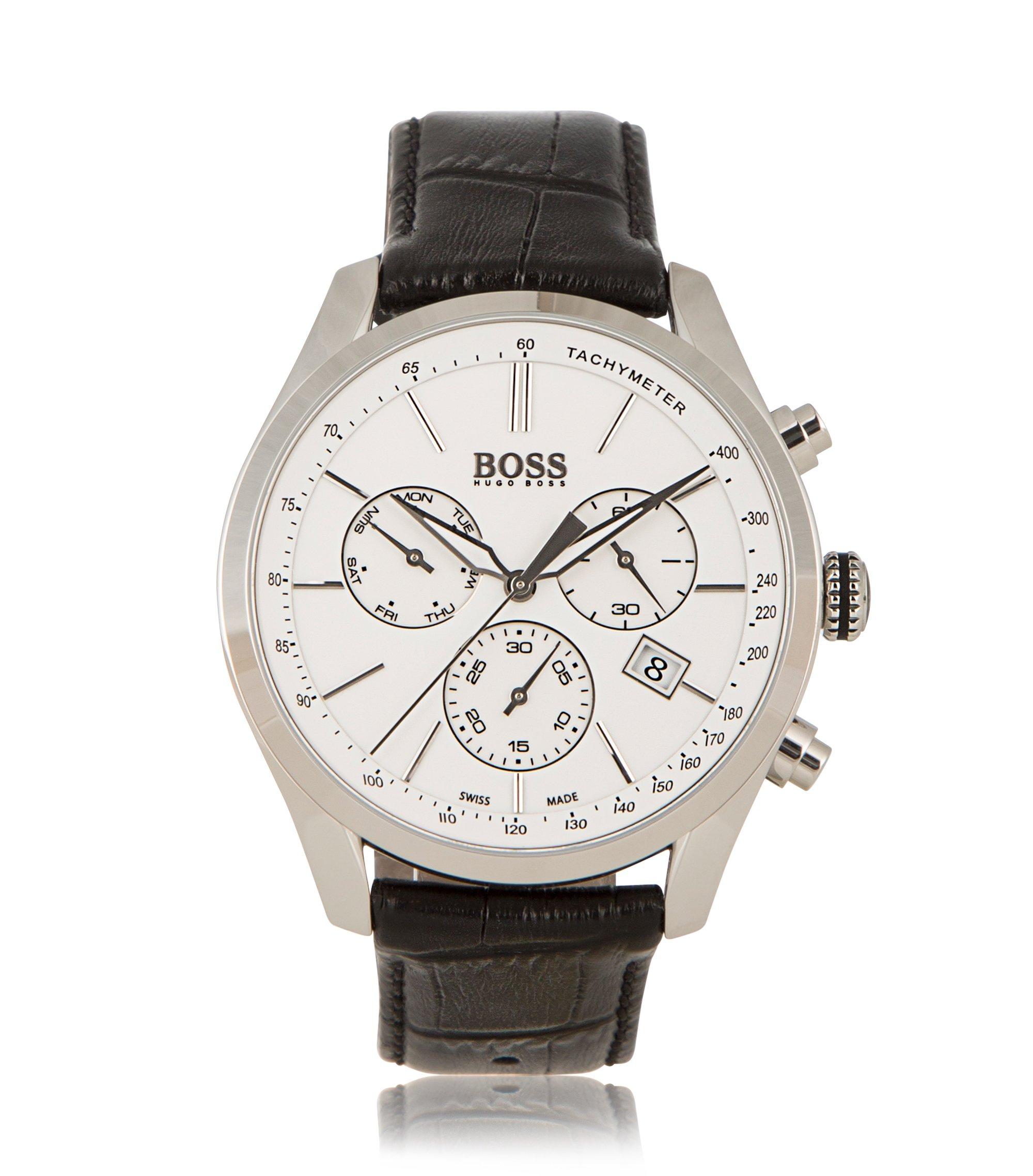 Cronógrafo con mecanismo de cuarzo y correa de piel: 'BOSS Signature Timepiece Chrono', Negro