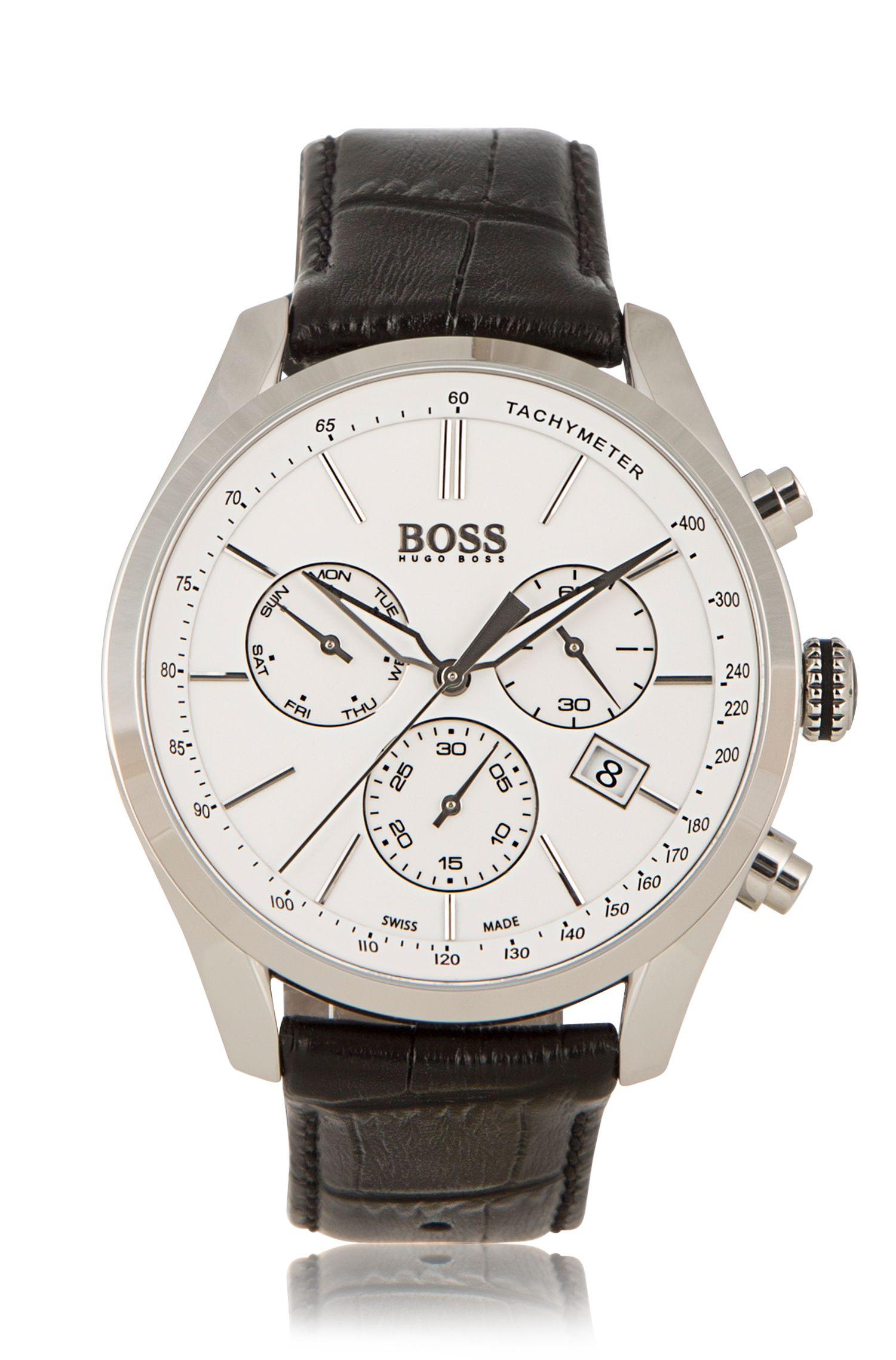Chronograaf met kwartsuurwerk en leren band: 'BOSS Signature Timepiece Chrono'