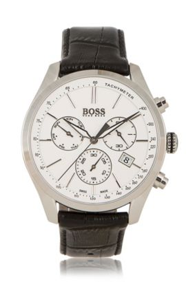 Chronograph with quartz movement and leather strap: 'BOSS Signature Timepiece Chrono', Black