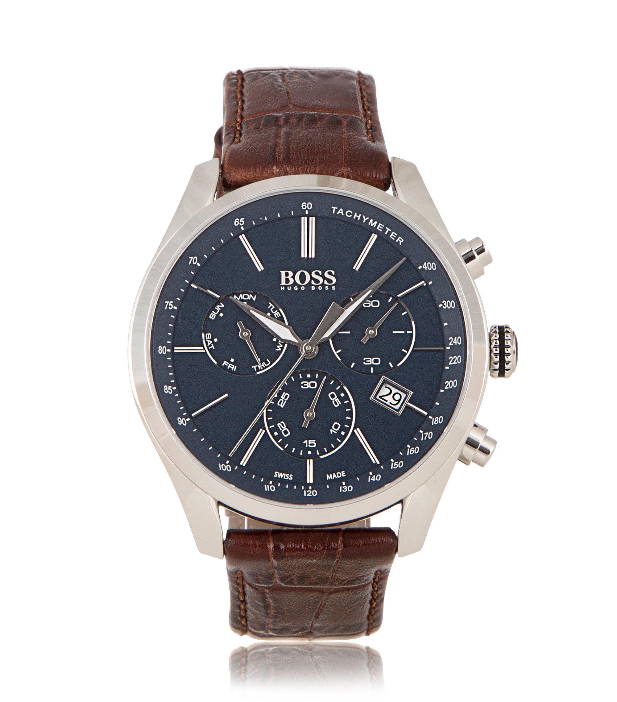 Uhr aus Edelstahl mit drei Zeigern und Armband aus italienischem Leder, Braun