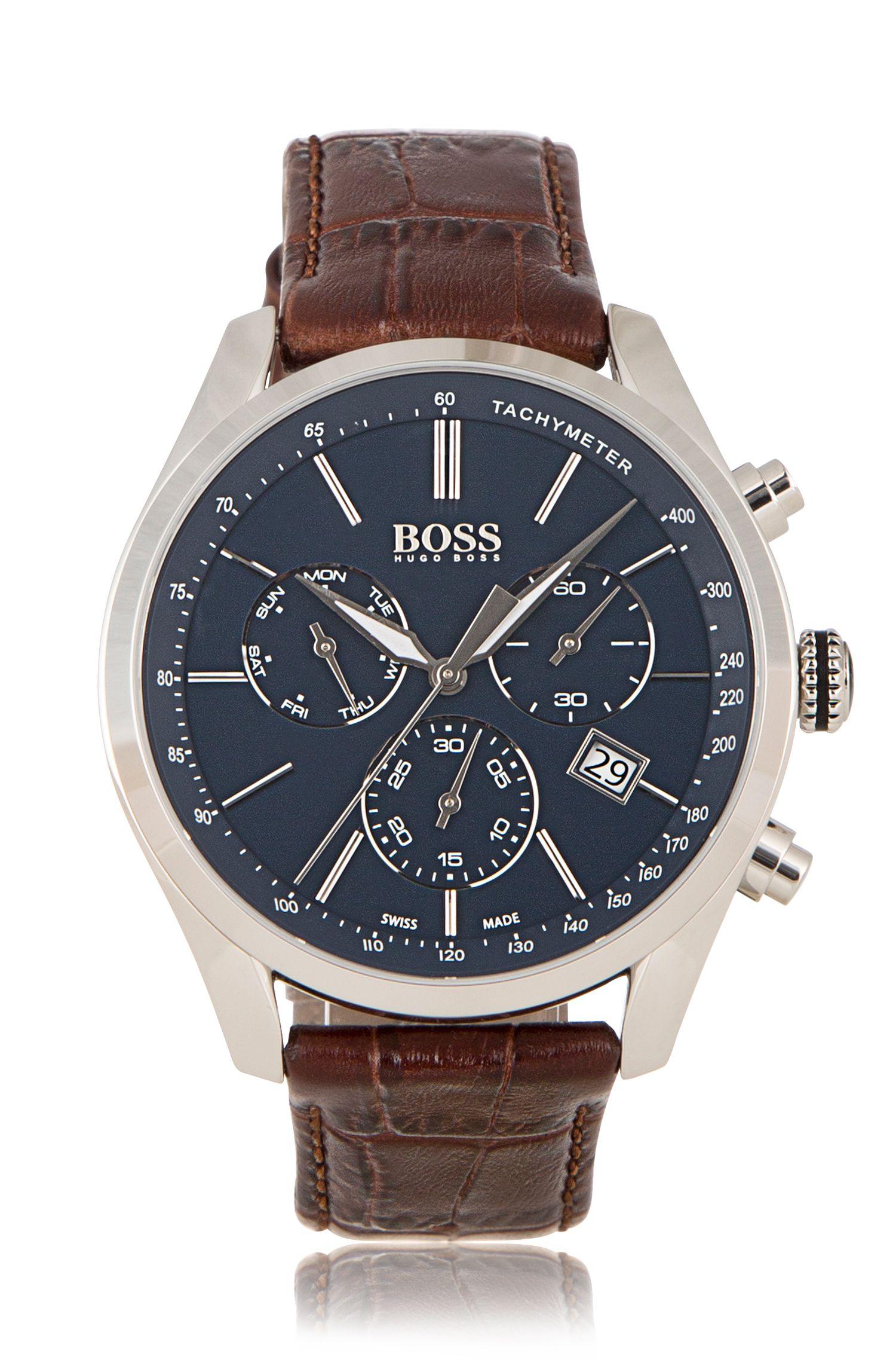 Uhr aus Edelstahl mit drei Zeigern und Armband aus italienischem Leder