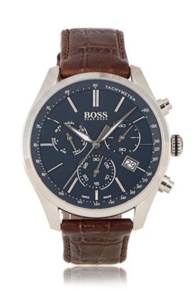 Chronograph with quartz movement and leather strap: 'BOSS Signature Timepiece Chrono', Brown