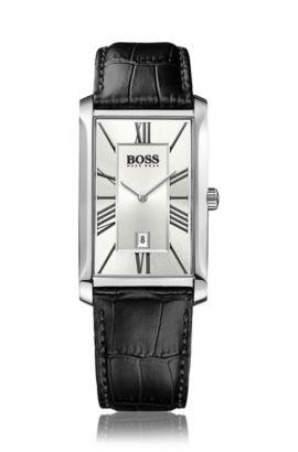Horloge met leren polsband, twee wijzers en datumweergave: 'Admiral', Zwart