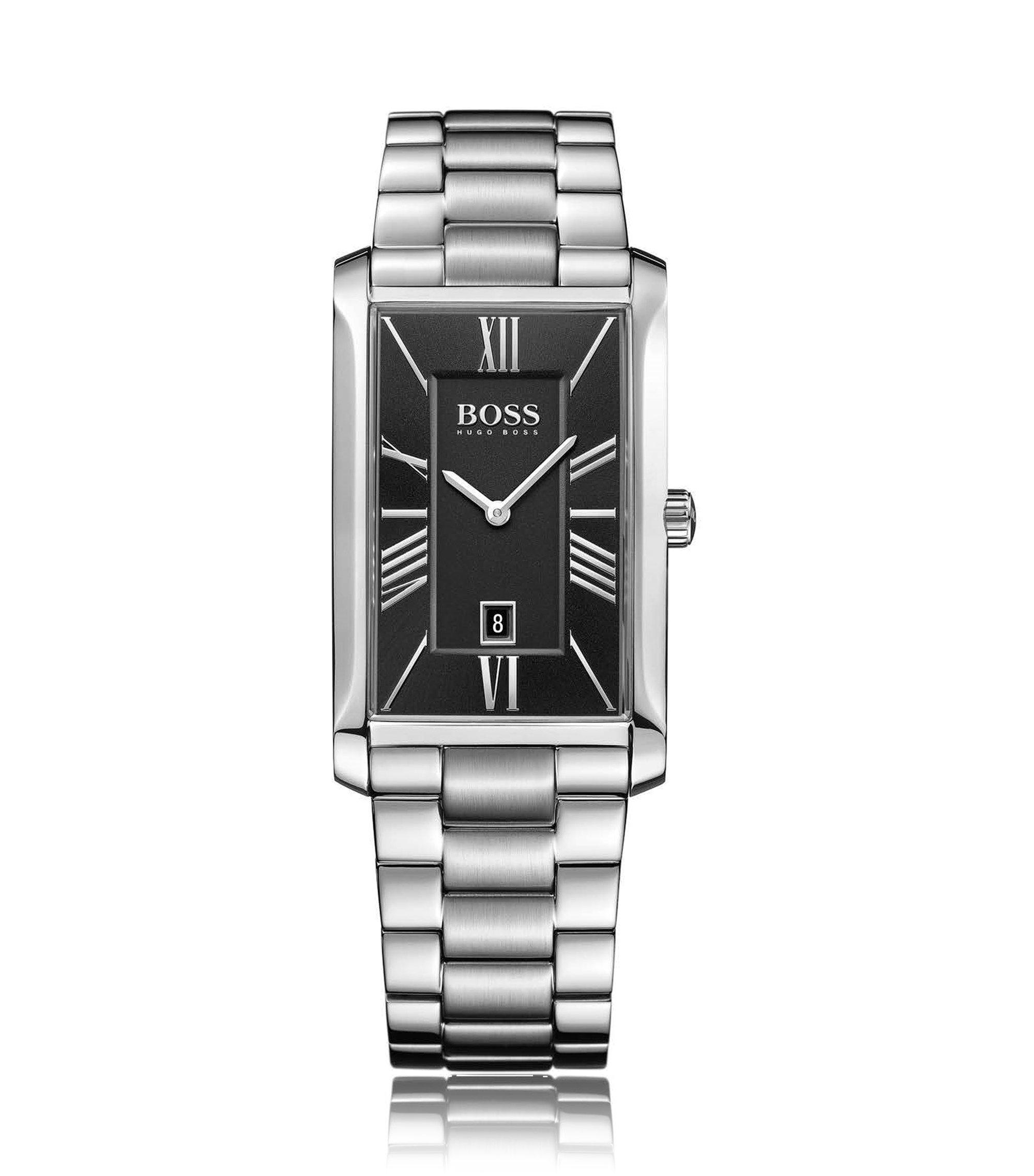 Orologio in acciaio inox lucido e spazzolato con quadrante nero multistrato, Grigio