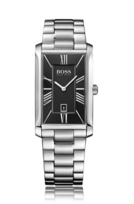 Brushed and polished stainless-steel watch with layered black dial, Grey