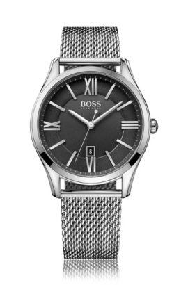 Runde Armbanduhr mit Quarzwerk und Milanaise-Armband: 'Ambassador Mesh', Dunkelgrau