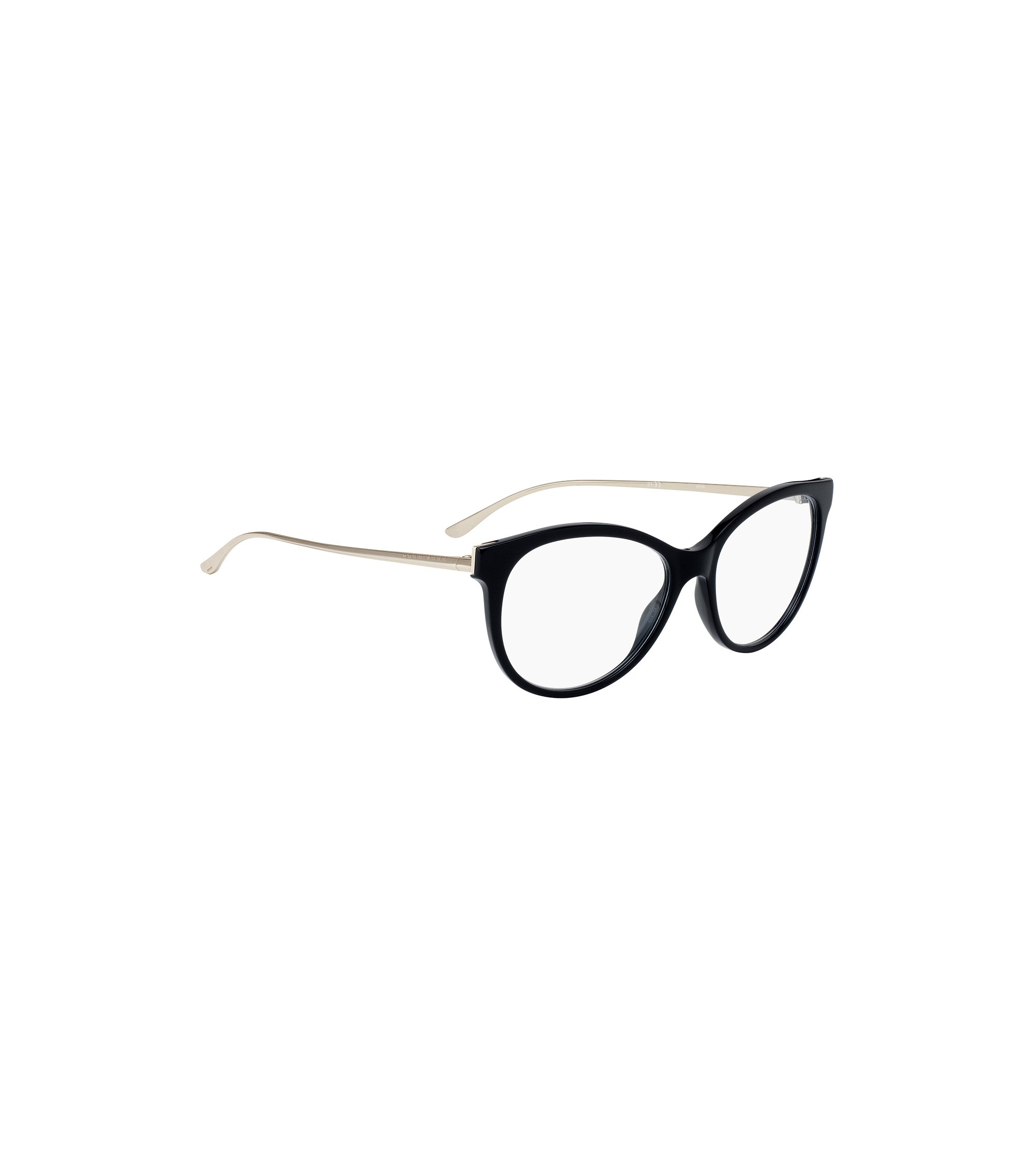 Cat-eye glasses with metal arms, Black