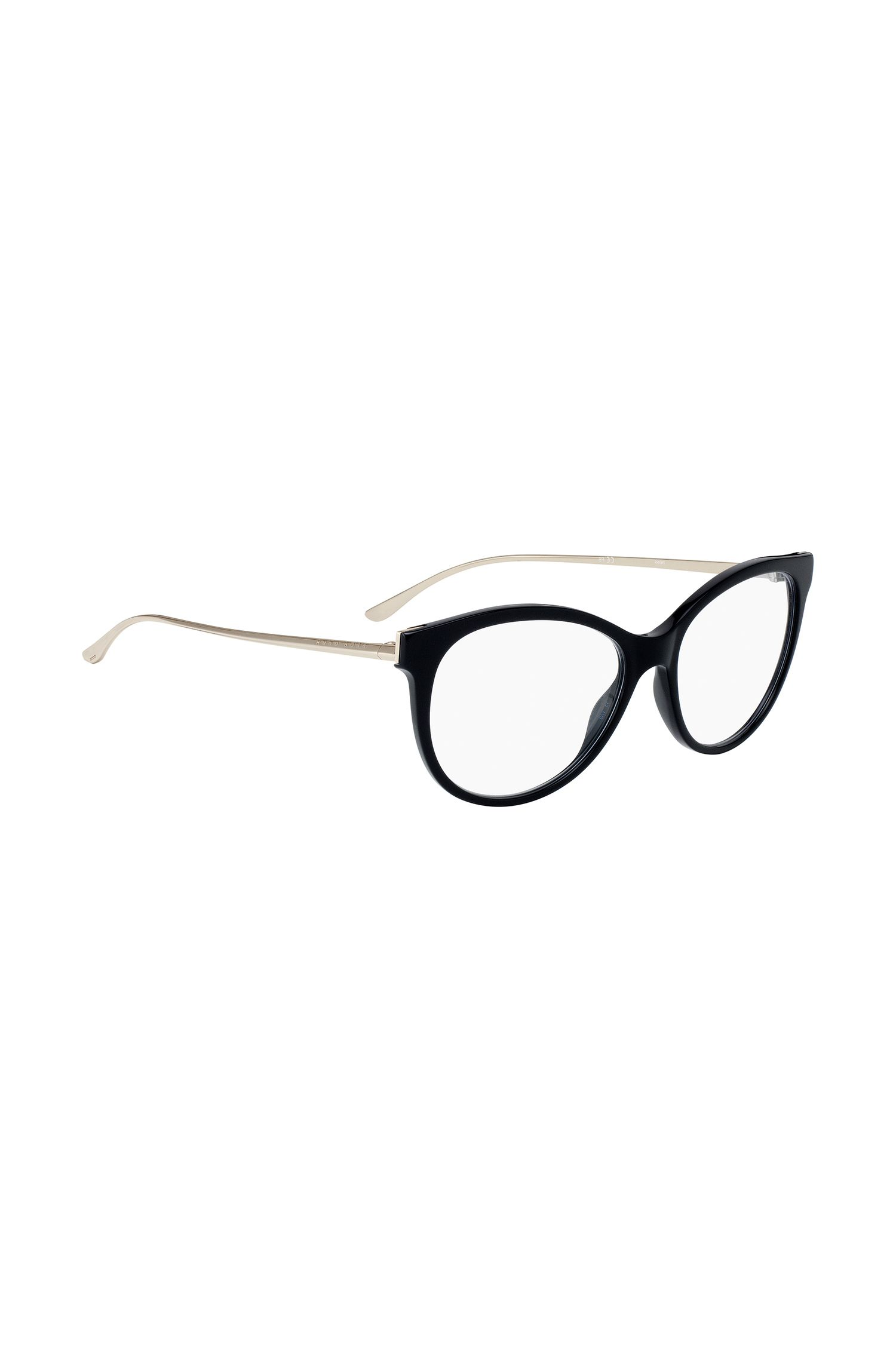 Cat-eye glasses with metal arms