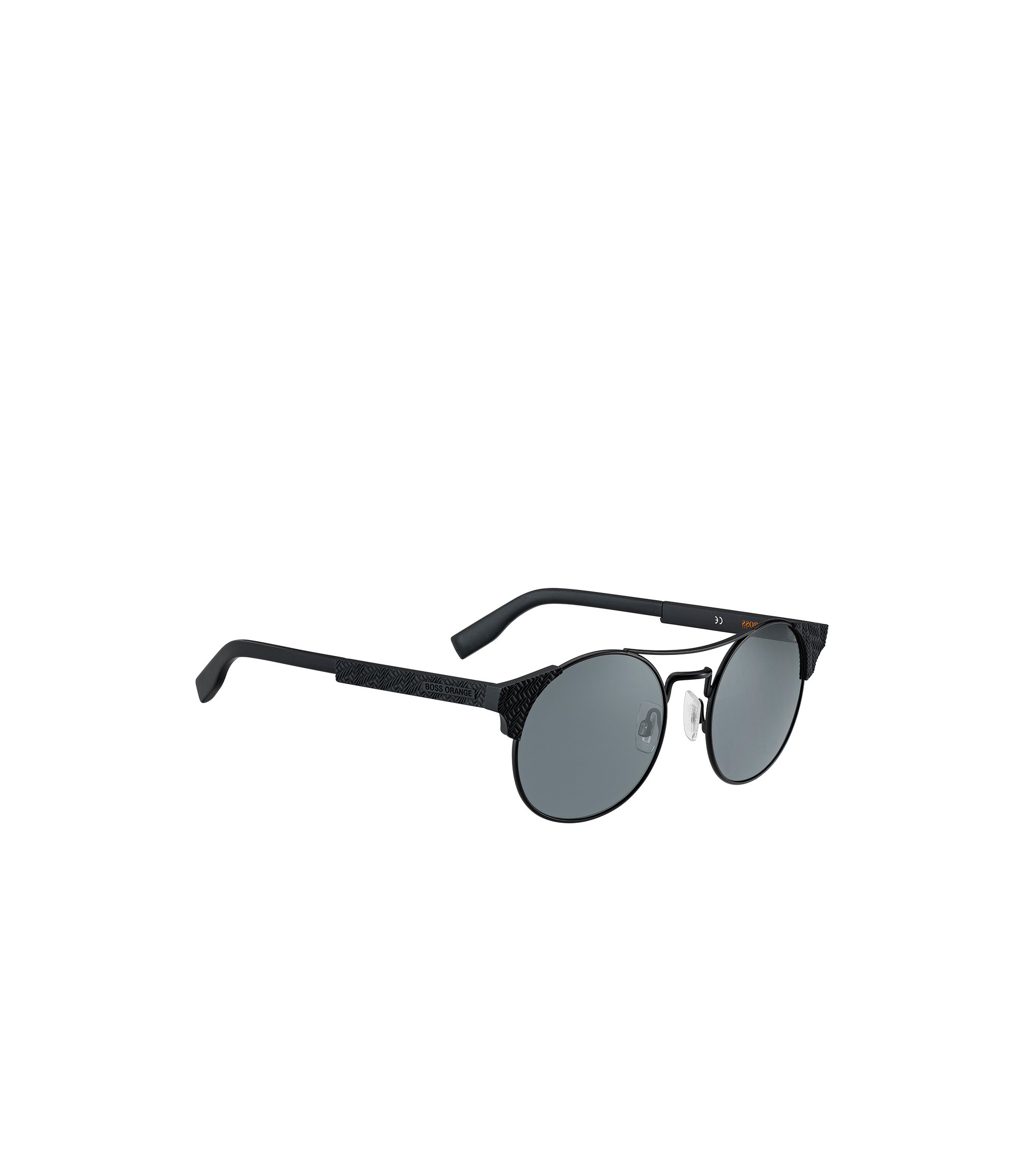 Black panto sunglasses with textured temples, Black