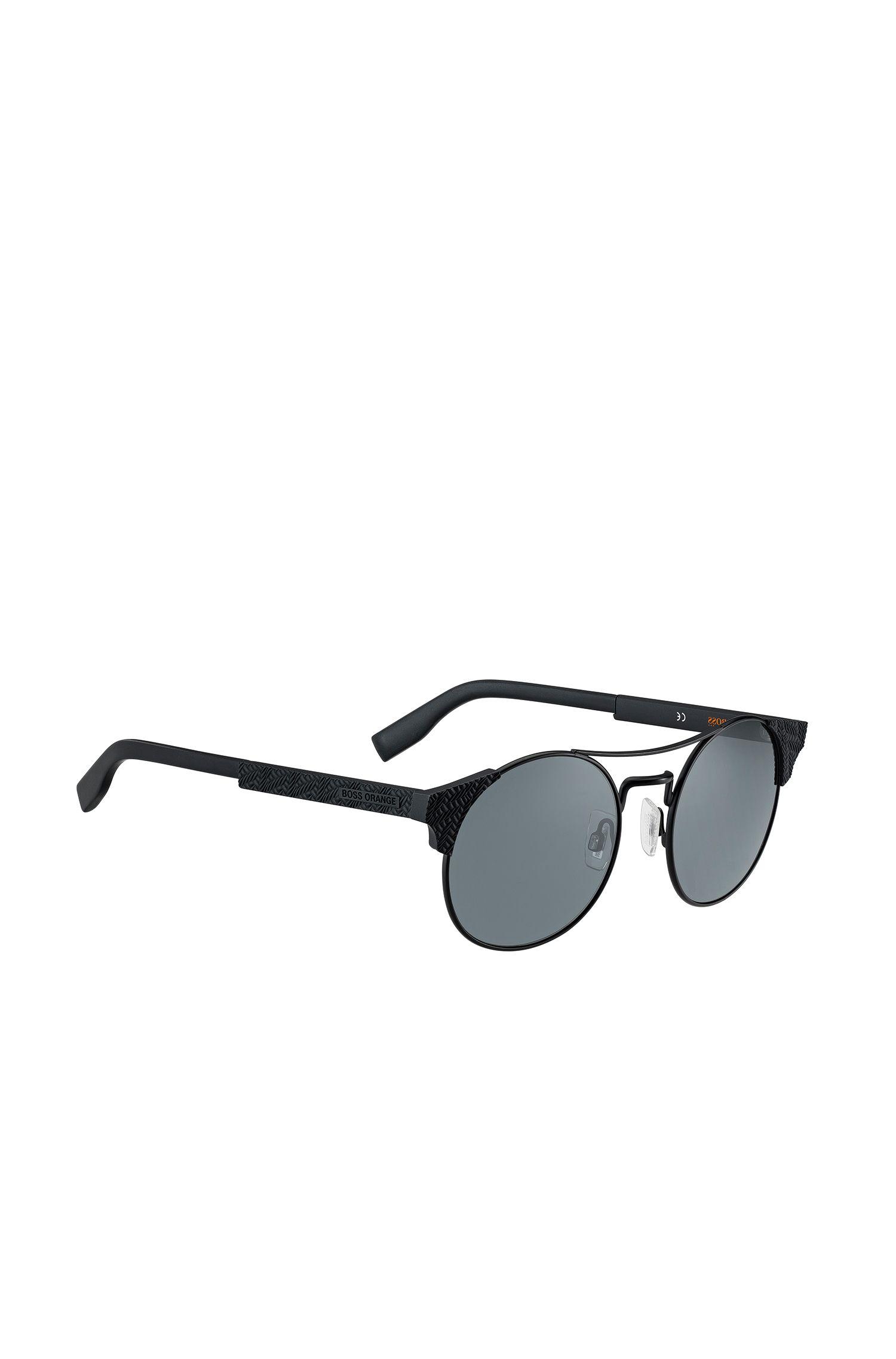 Metallene Panto-Sonnenbrille mit strukturierten Bügeln