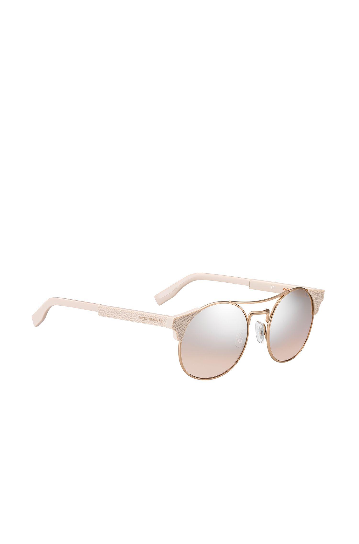 Goud-koperkleurige panto-zonnebril met gestructureerde poten