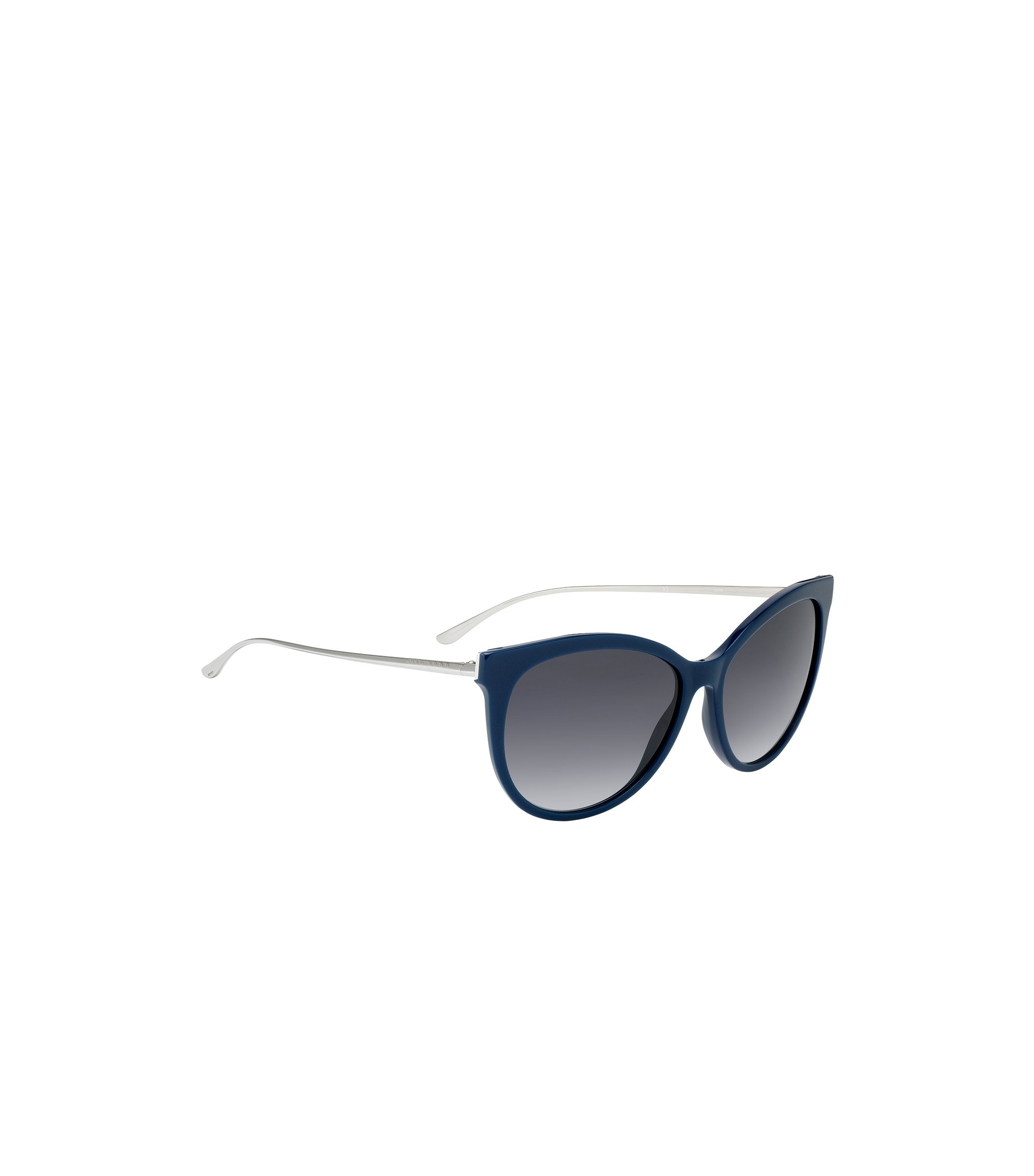 Occhiali da sole cat-eye con aste in metallo, Blu
