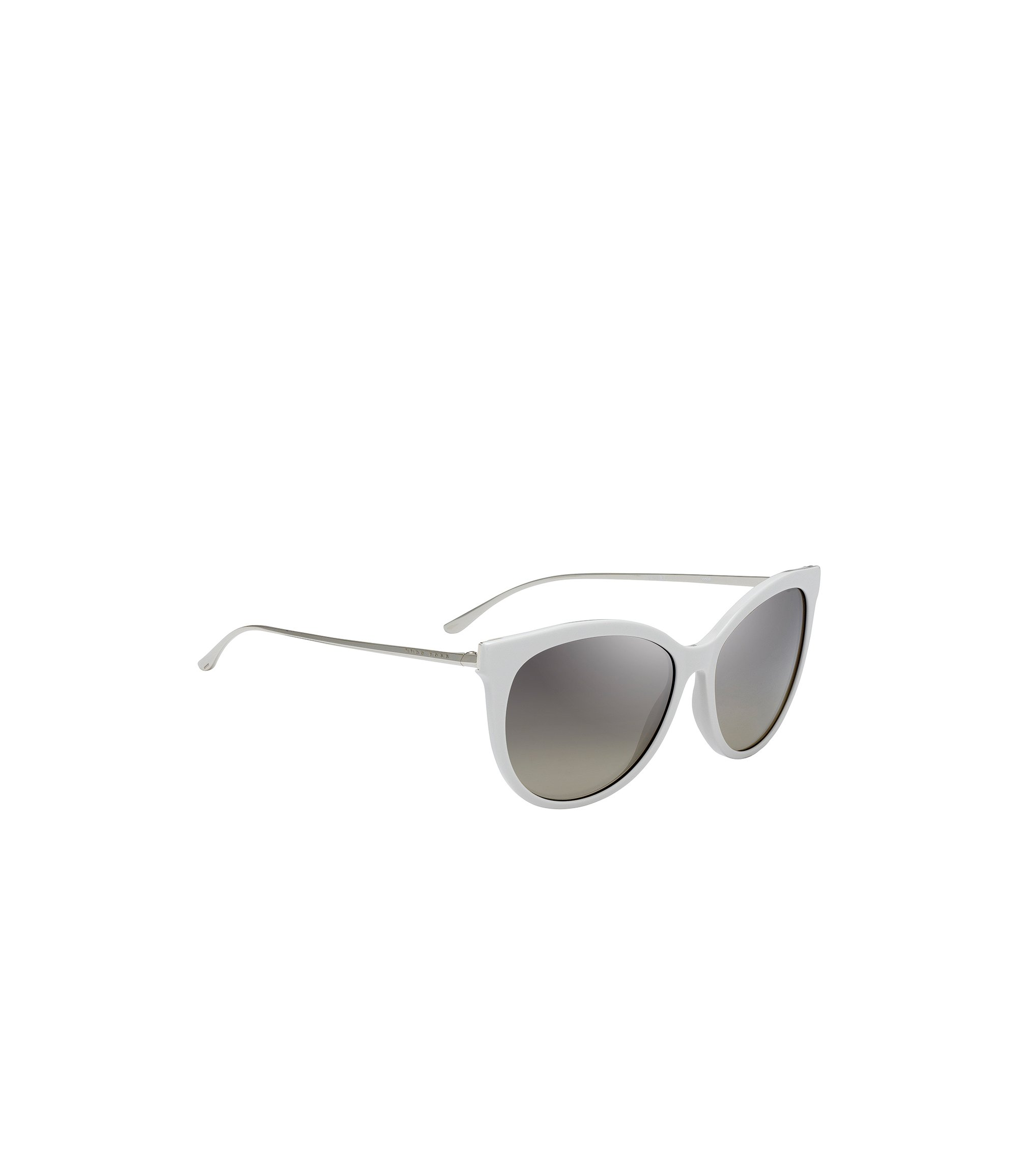 Cat-eye sunglasses with slim shaped temples, Open White