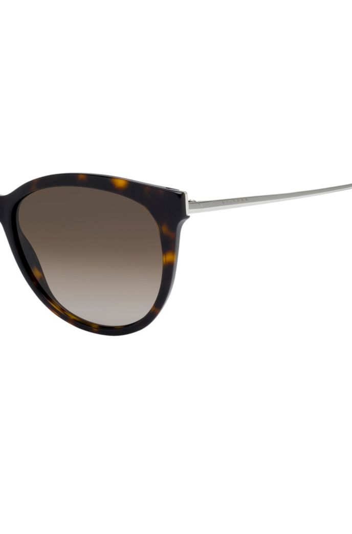 Cat-eye sunglasses in patterned acetate