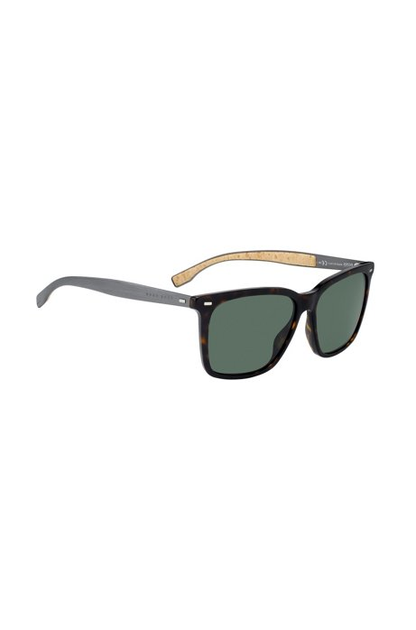 Patterned-acetate sunglasses with cork trims, Assorted-Pre-Pack