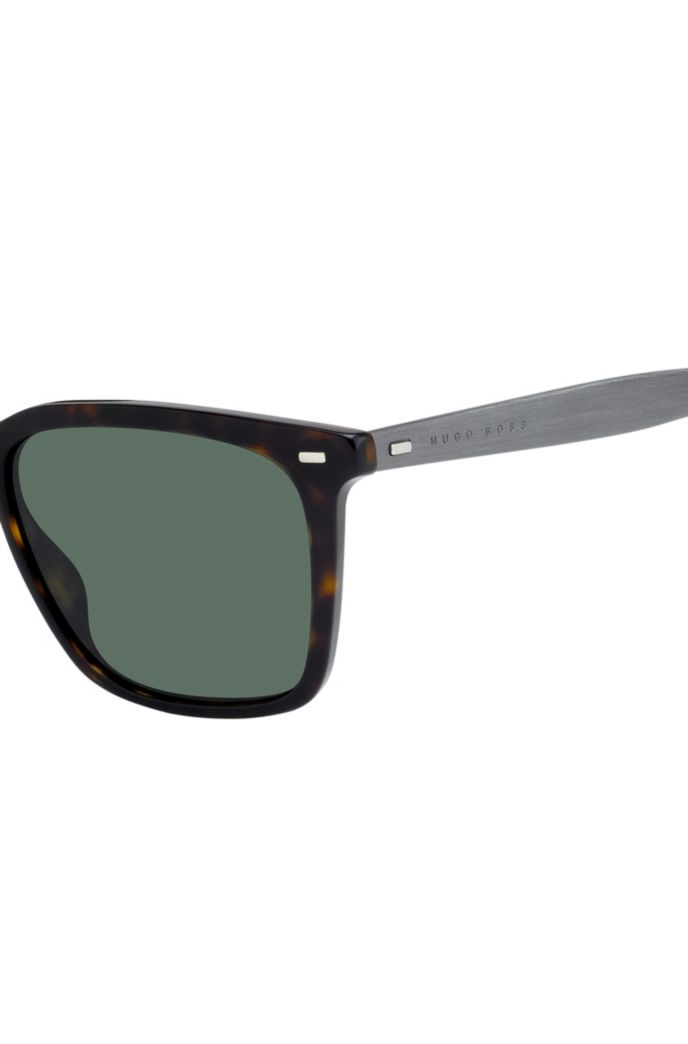 Patterned-acetate sunglasses with cork trims