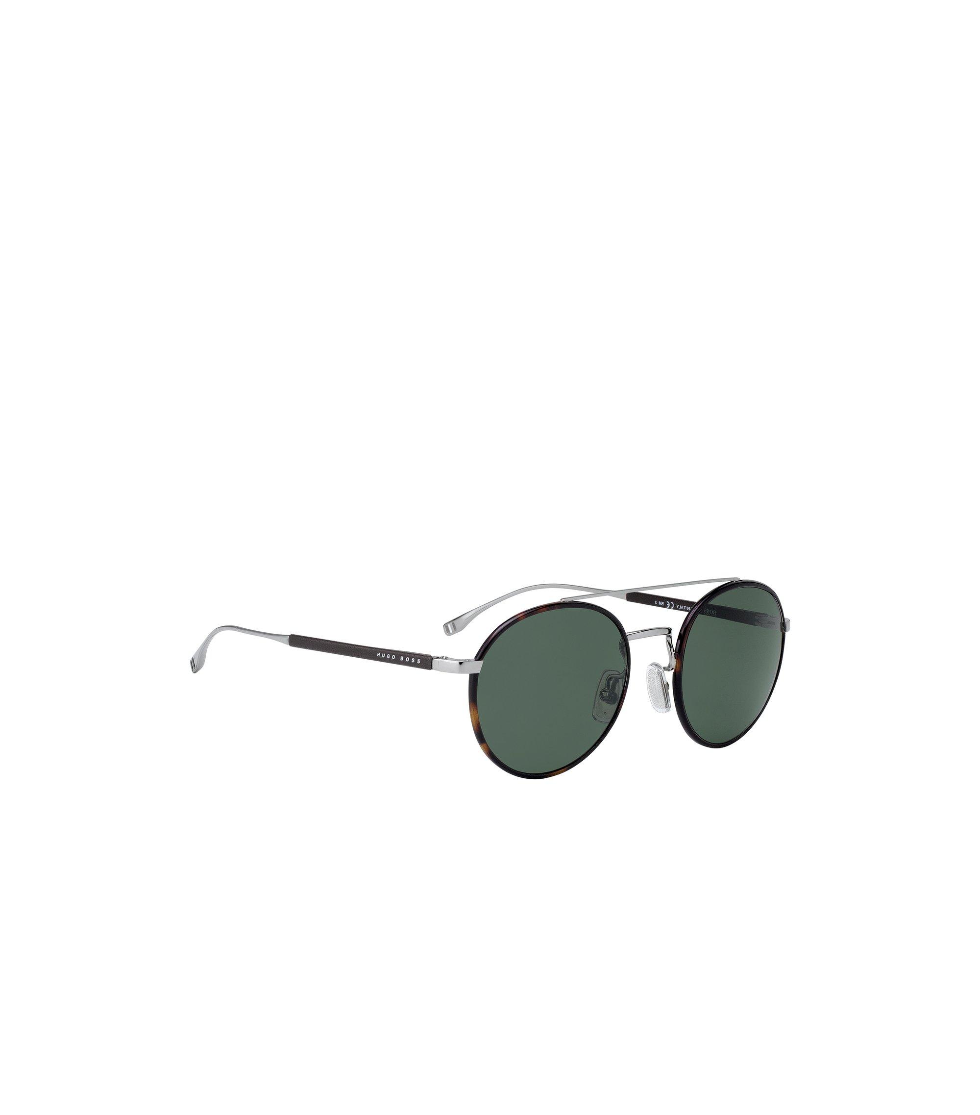 Panto-Sonnenbrille aus Acetat mit Doppelsteg und Lederbesatz, Braun