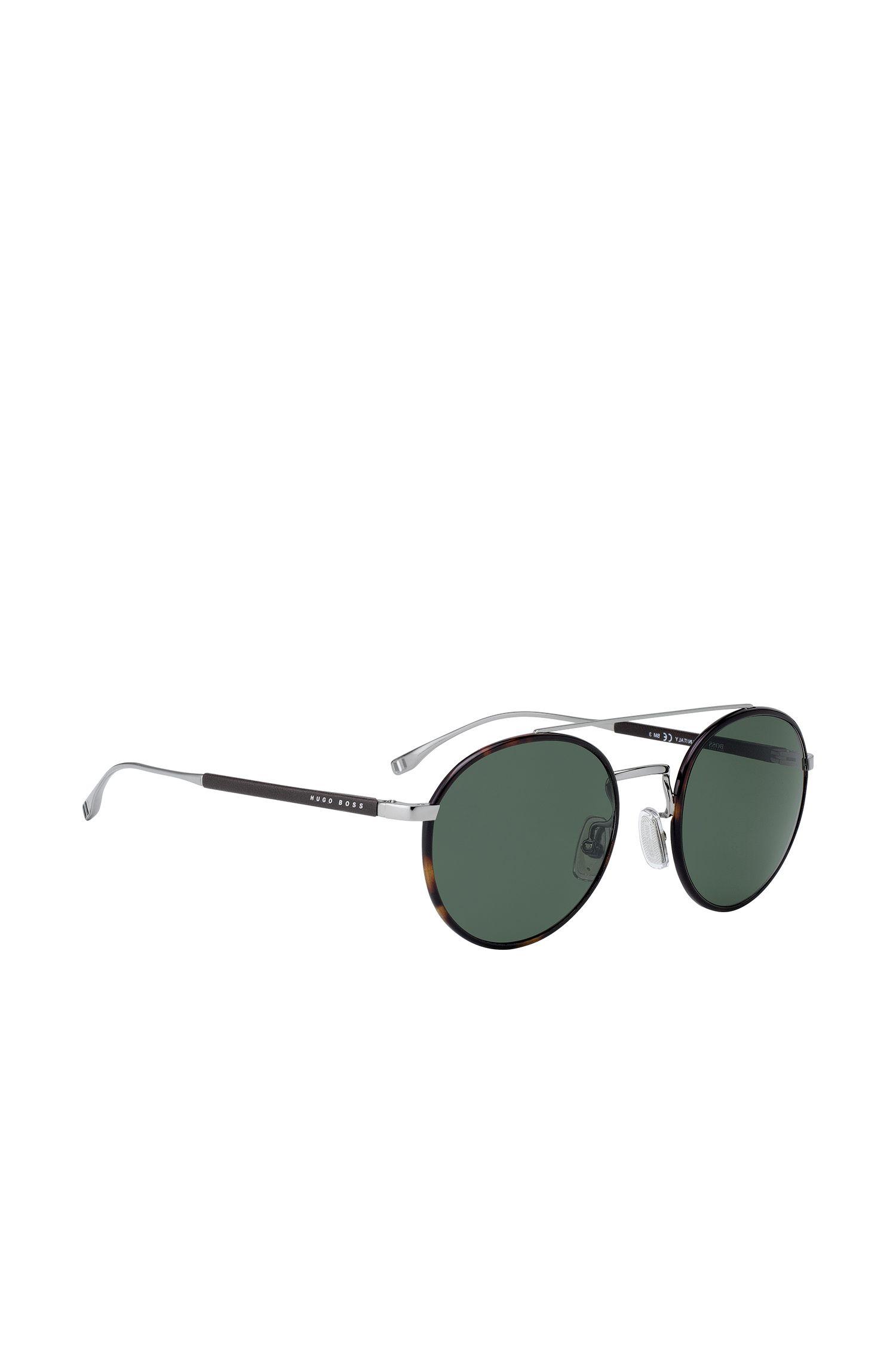 Panto-Sonnenbrille aus Acetat mit Doppelsteg und Lederbesatz