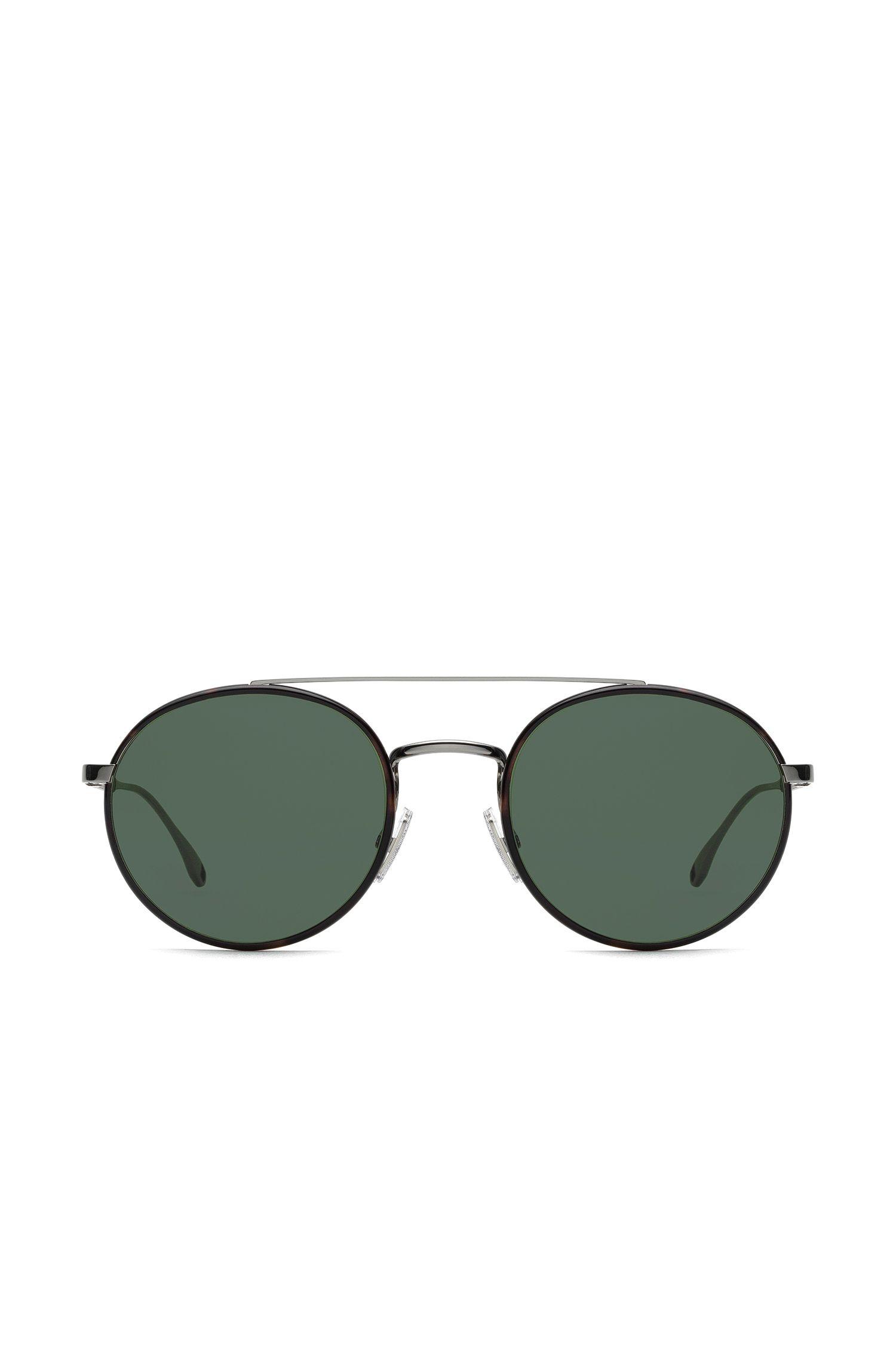 Double-bridge panto sunglasses with leather trim, Brown