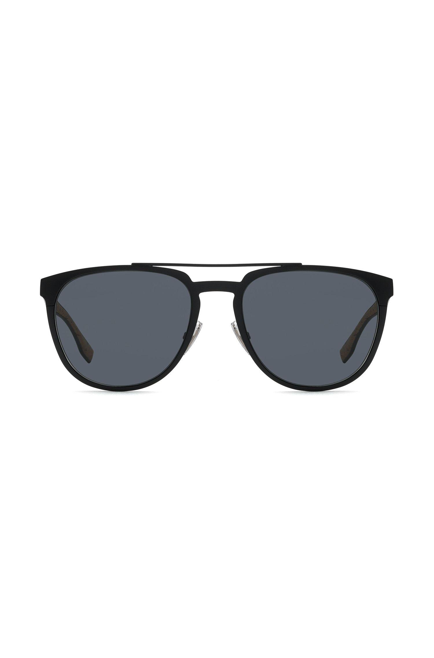 Zonnebril in pilotenstijl met dun, zwart metallic montuur, Zwart
