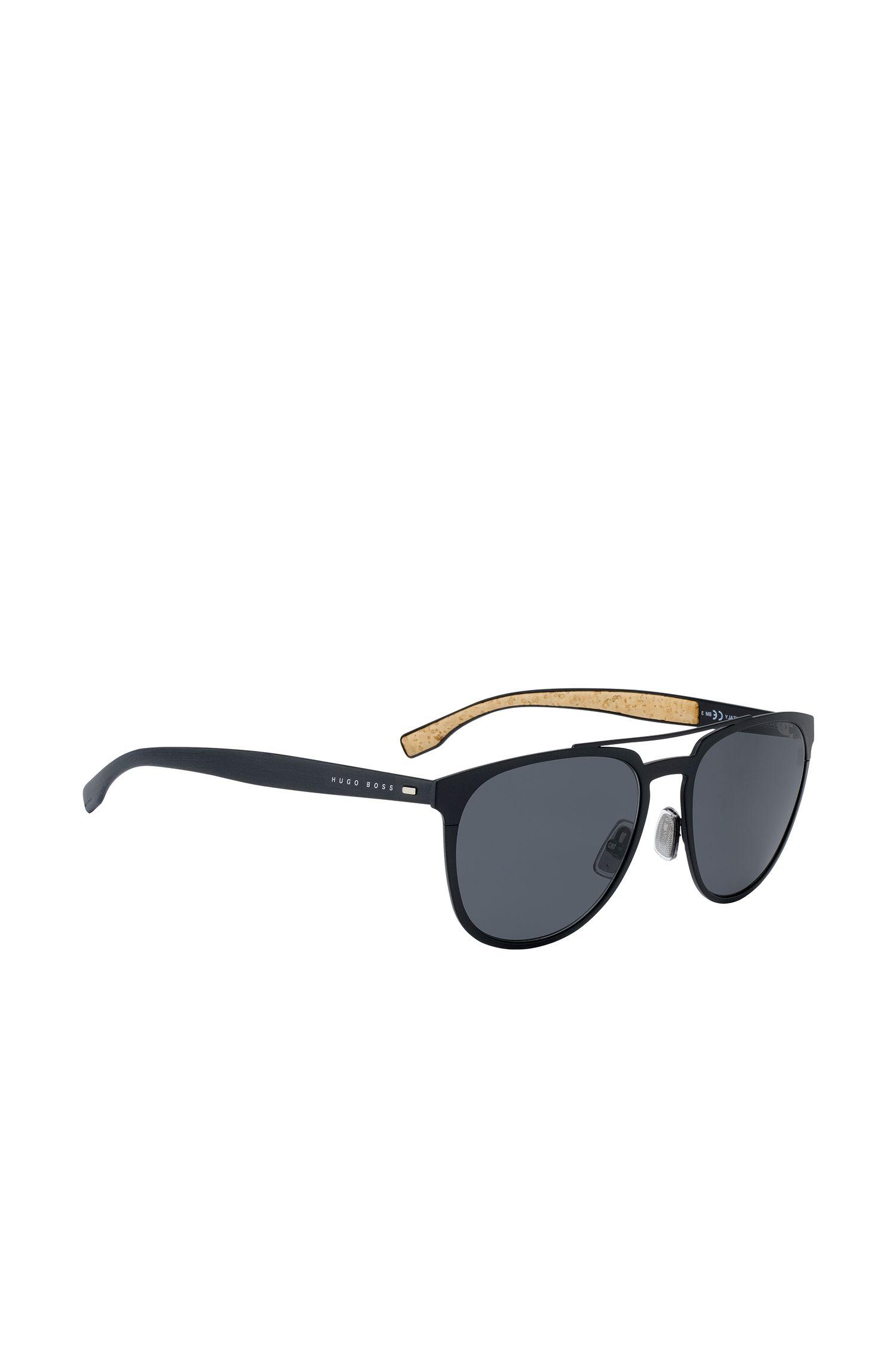 Gafas de sol de aviador con montura fina y metalizada de color negro, Negro