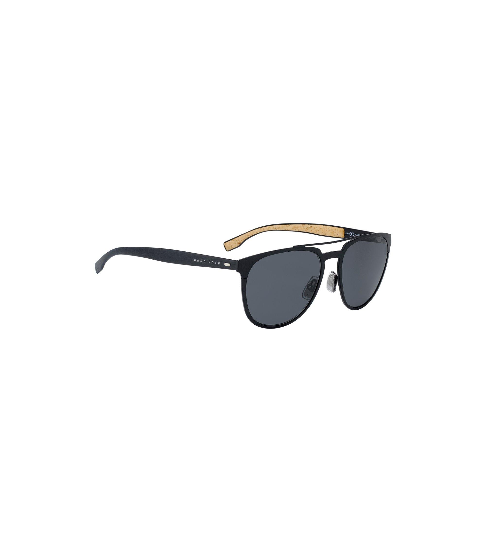 Aviator sunglasses with thin black metallic frames, Black