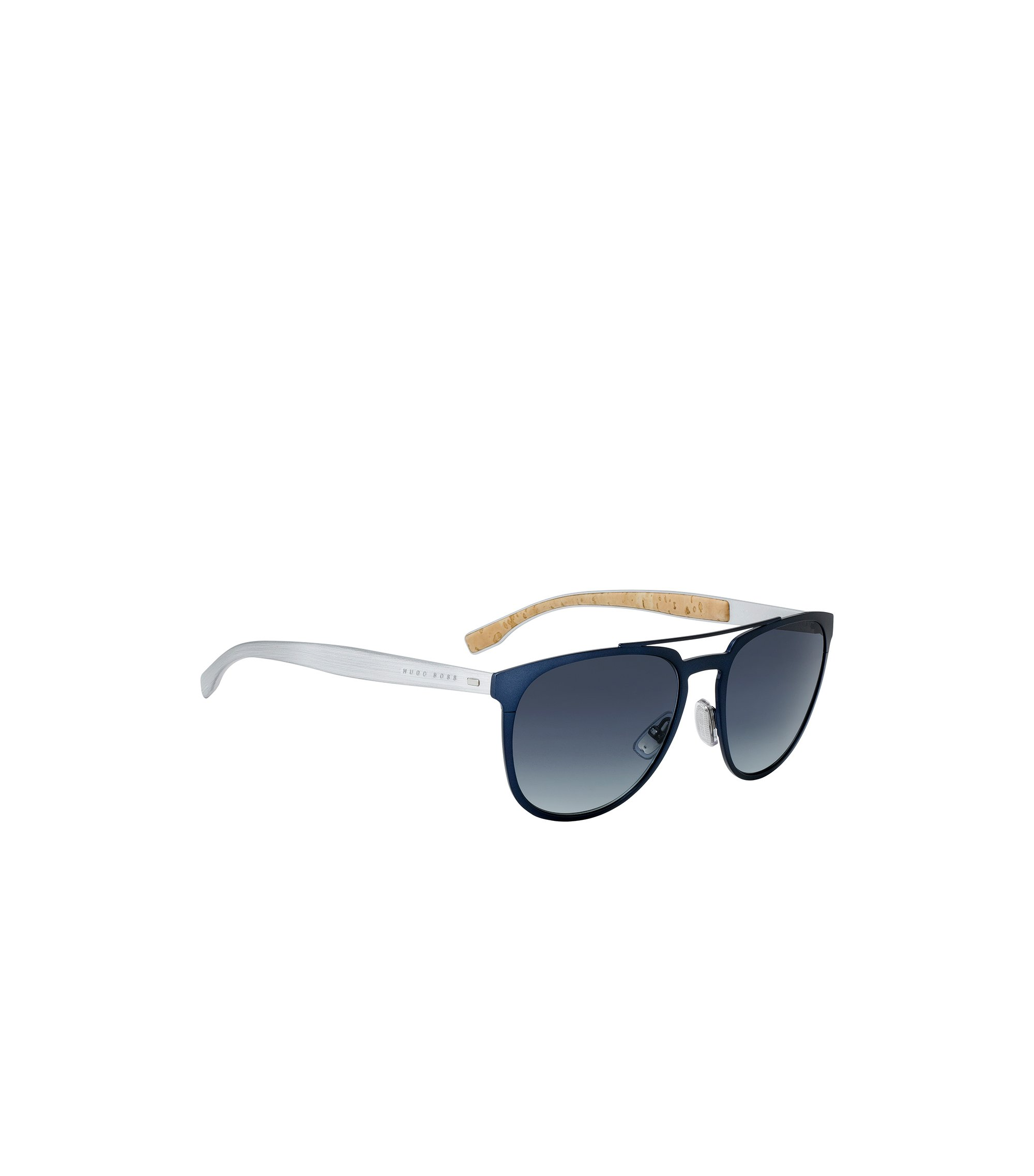 Aviator sunglasses with thin blue metallic frames, Blue