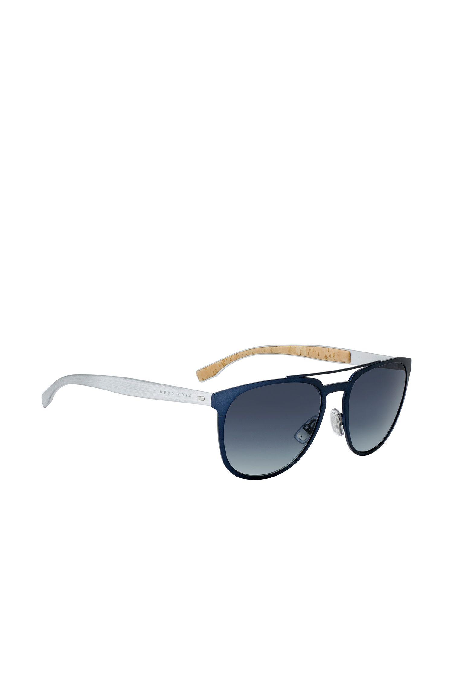 Aviator sunglasses with thin blue metallic frames