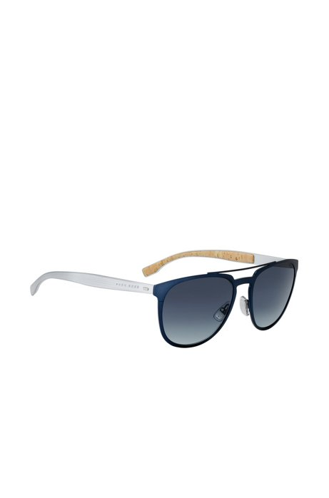 BOSS - Aviator sunglasses with thin blue metallic frames