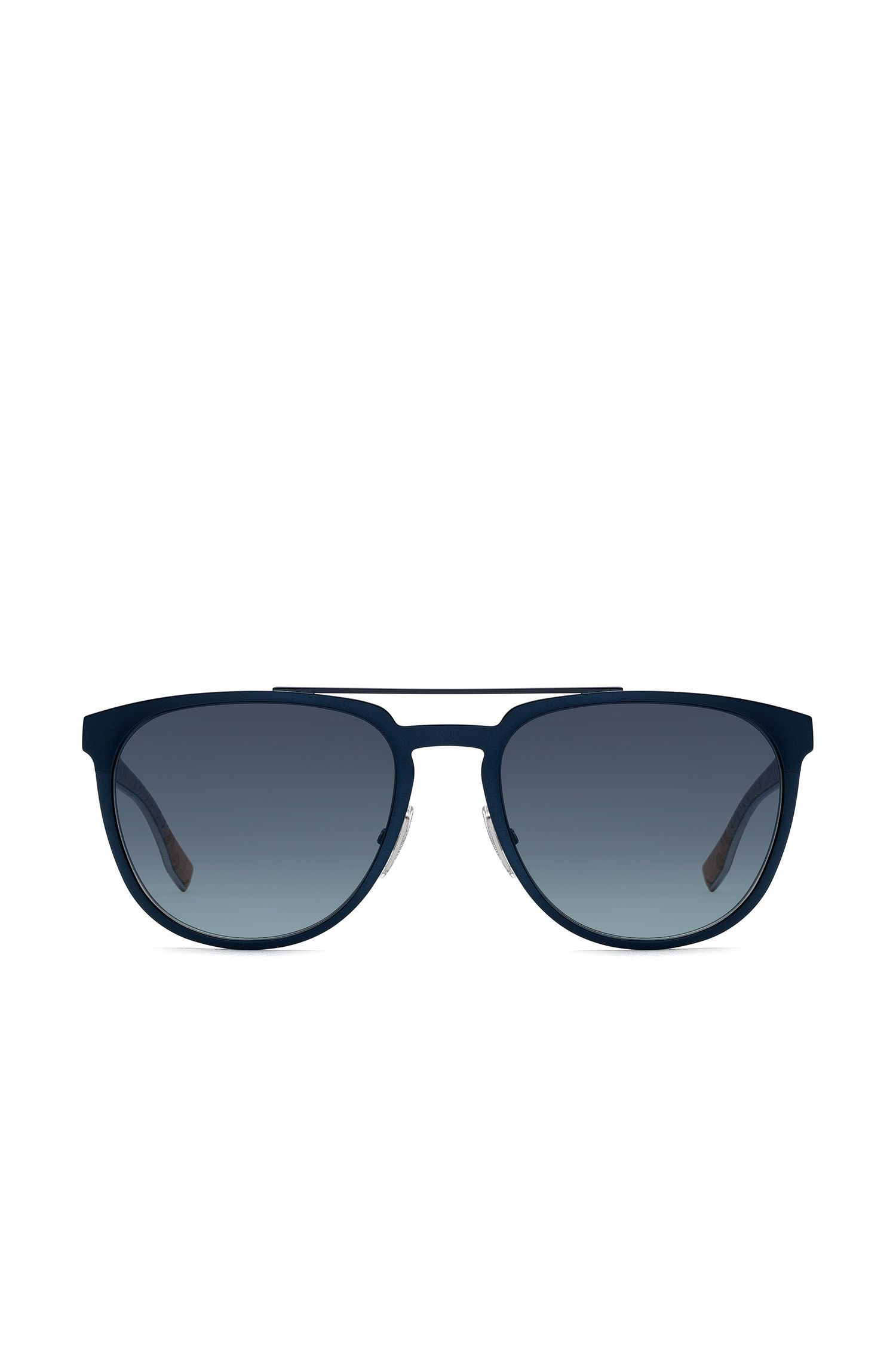 Aviator sunglasses with thin blue metallic frames
