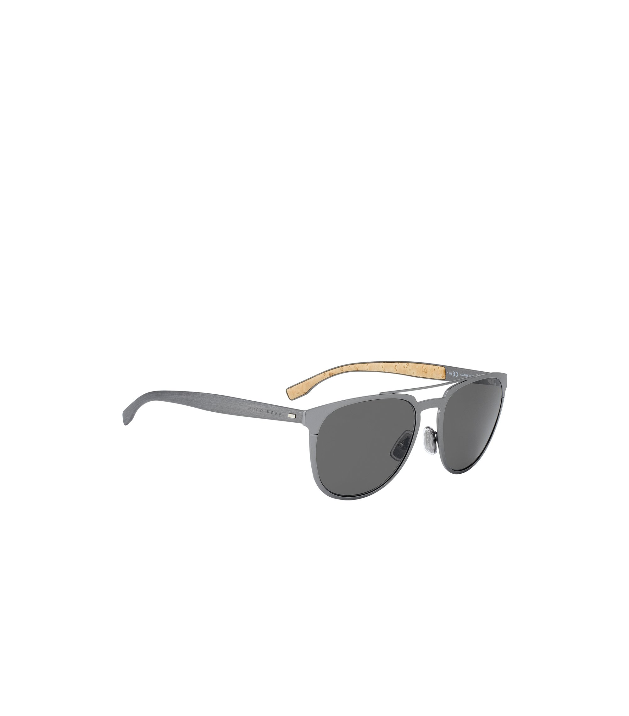 Dark grey metal sunglasses with cork trim, Silver