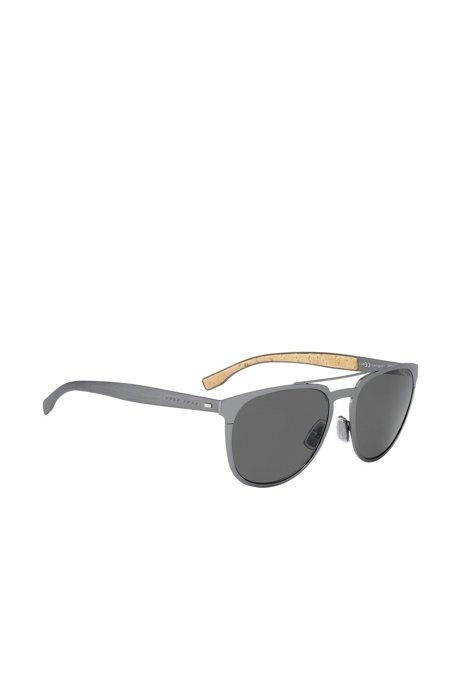 Dark grey metal sunglasses with cork trim, Silver