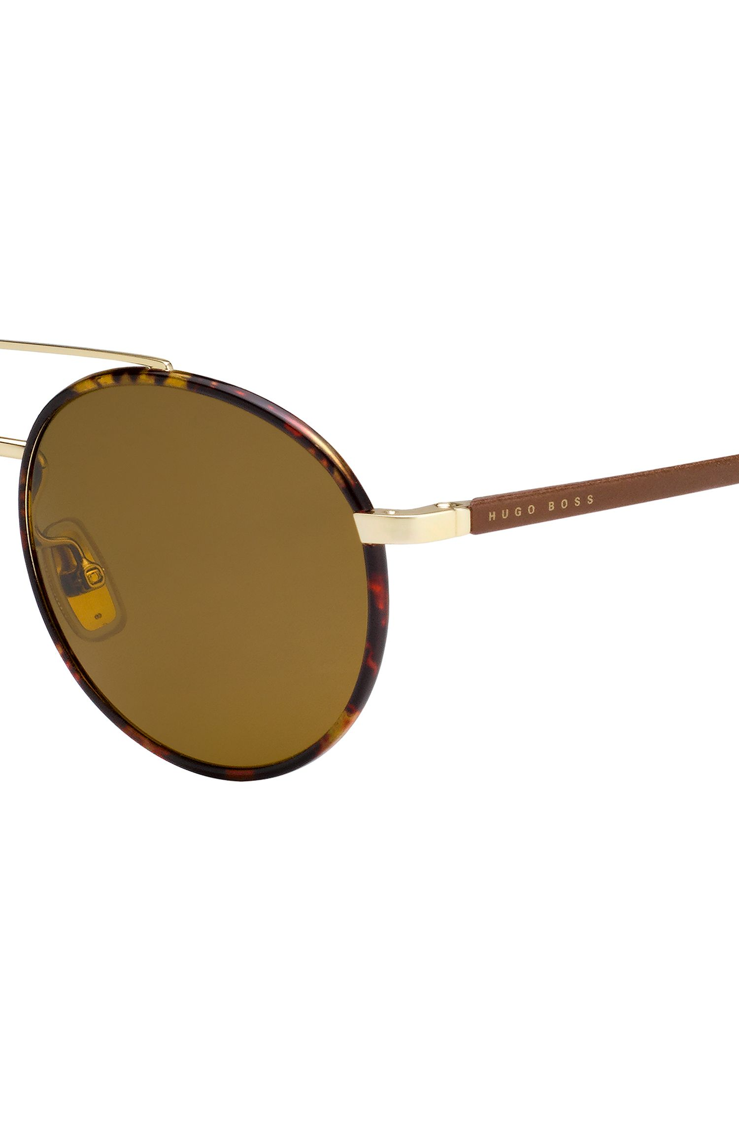 Panto sunglasses with leather temples, Brown