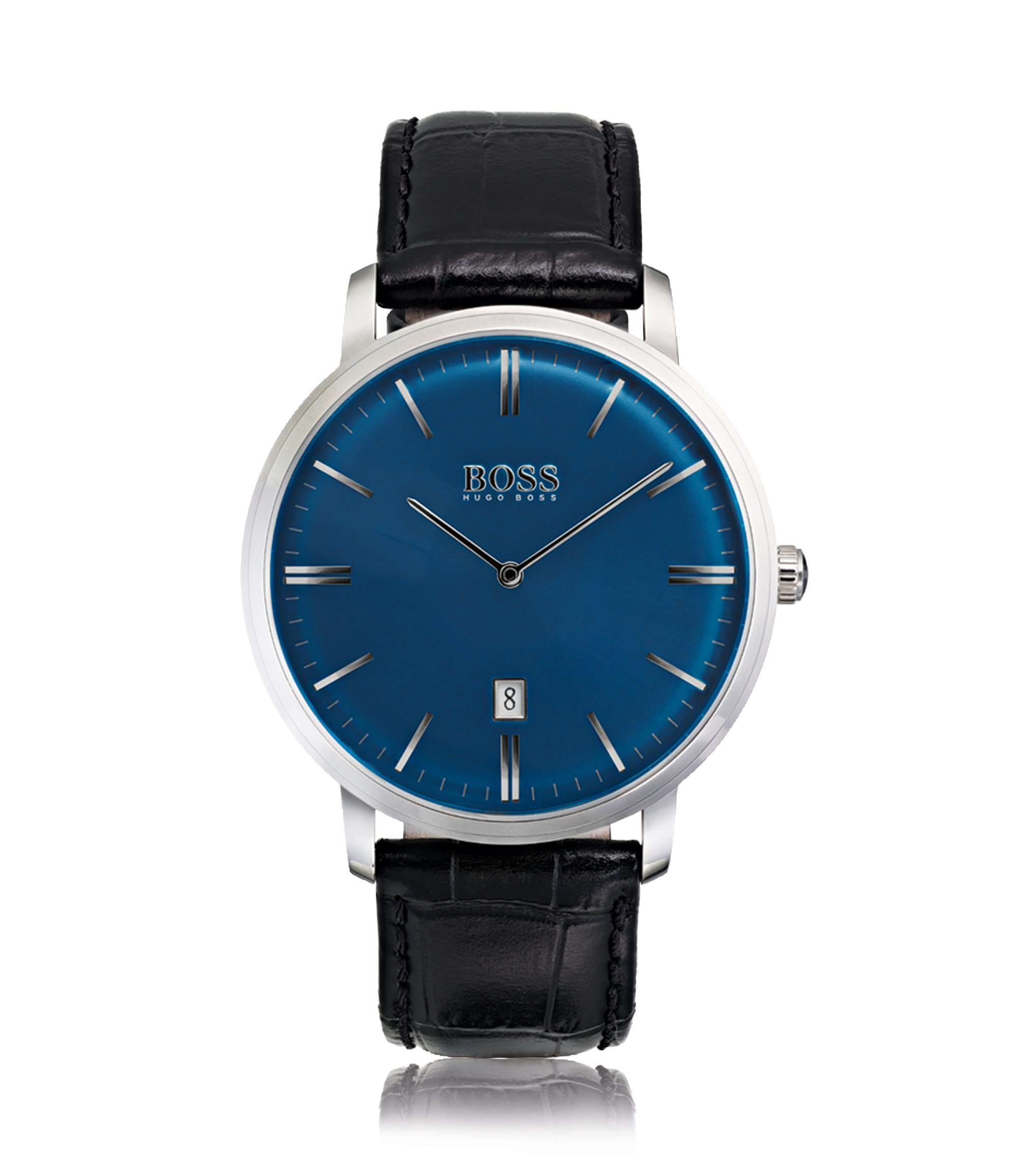 Stainless-steel watch with sunray blue dial and leather strap, Black