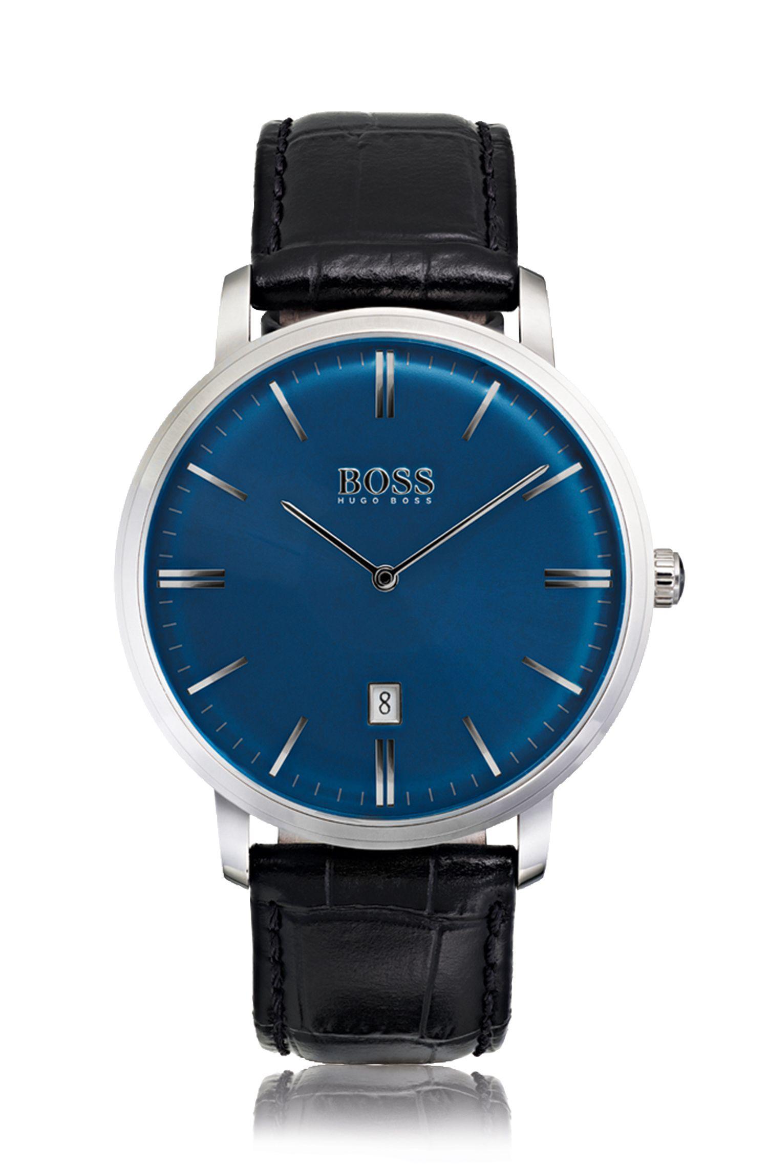 Reloj de acero inoxidable con esfera azul satinada y correa de piel