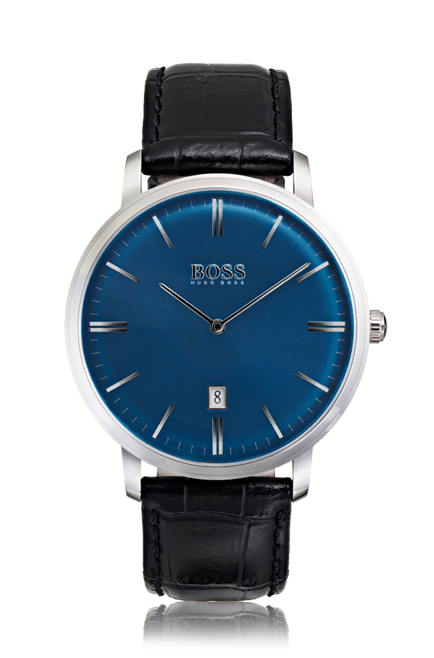 Stainless-steel watch with sunray blue dial and leather strap